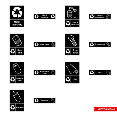 Metal recycling signs icon set of black and white types. Isolated vector sign symbols.Icon pack. icon