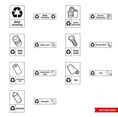 Metal recycling signs icon set of outline types. Isolated vector sign symbols.Icon pack. icon
