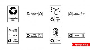 Automotive recycling signs icon set of color types. Isolated vector sign symbols.Icon pack. icon