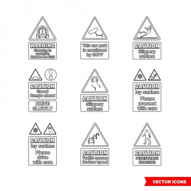 Car park warning signs icon set of outline types. Isolated vector sign symbols.Icon pack. icon