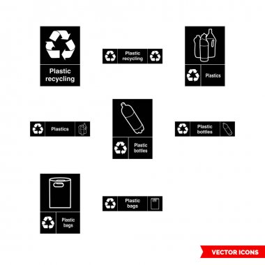 Plastic recycling signs icon set of black and white types. Isolated vector sign symbols.Icon pack. icon