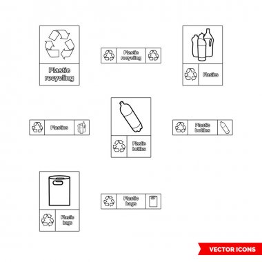 Plastic recycling signs icon set of outline types. Isolated vector sign symbols.Icon pack. icon