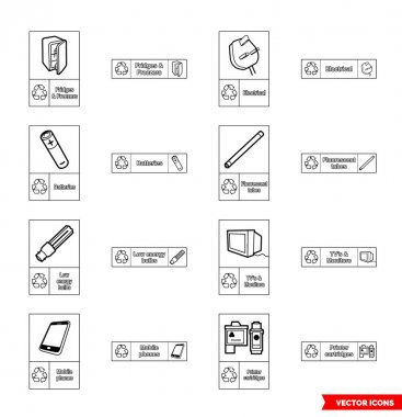 Electrical recycling signs icon set of outline types. Isolated vector sign symbols.Icon pack. icon