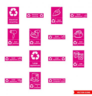 Electrical recycling signs icon set of color types. Isolated vector sign symbols.Icon pack. icon