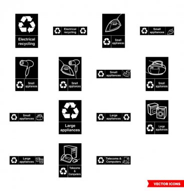 Electrical recycling signs icon set of black and white types. Isolated vector sign symbols.Icon pack. icon