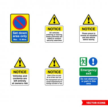 Car park notice signs icon set of color types. Isolated vector sign symbols.Icon pack. icon