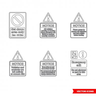 Car park notice signs icon set of outline types. Isolated vector sign symbols.Icon pack. icon