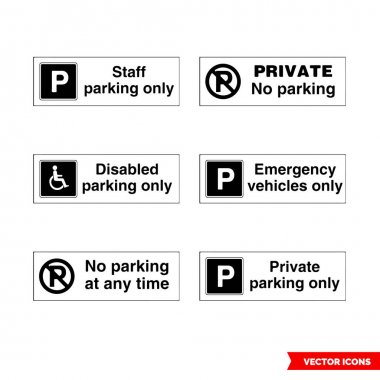 Car parking control signs icon set of black and white types. Isolated vector sign symbols.Icon pack. icon