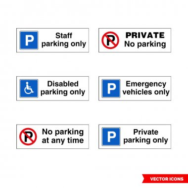 Car parking control signs icon set of color types. Isolated vector sign symbols.Icon pack. icon
