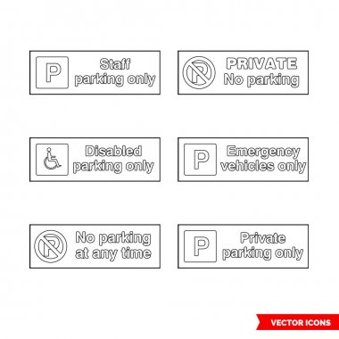 Car parking control signs icon set of outline types. Isolated vector sign symbols.Icon pack. icon