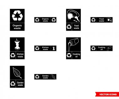 Organic recycling signs icon set of black and white types. Isolated vector sign symbols.Icon pack. icon