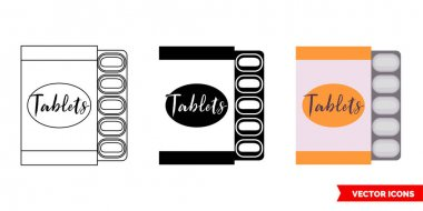 Pack of pills icon of 3 types color, black and white, outline.Isolated vector sign symbol. icon