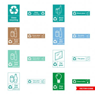 Glass recycling signs icon set of color types. Isolated vector sign symbols.Icon pack. icon