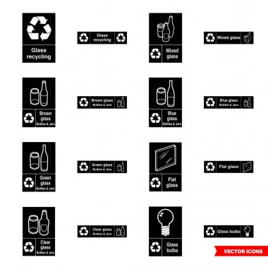 Glass recycling signs icon set of black and white types. Isolated vector sign symbols.Icon pack. icon