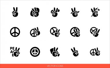 Peace sign hand with fingers and pacific sign, international symbol of peace, disarmament, antiwar movement icon set of black and white types. Isolated vector sign symbols.Icon pack. icon