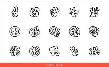 Peace sign hand with fingers and pacific sign, international symbol of peace, disarmament, antiwar movement icon set of outline types. Isolated vector sign symbols.Icon pack. icon