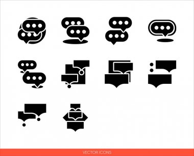 Speak symbol speech bubble icon set of black and white types. Isolated vector sign symbols.Icon pack. icon