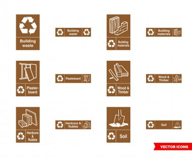 Building recycling signs icon set of color types. Isolated vector sign symbols.Icon pack. icon