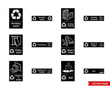 Building recycling signs icon set of black and white types. Isolated vector sign symbols.Icon pack. icon