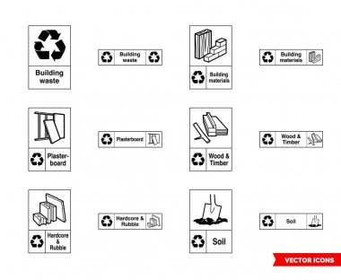 Building recycling signs icon set of outline types. Isolated vector sign symbols.Icon pack. icon