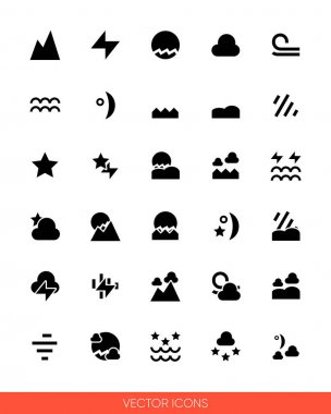 Weather icon set icon set of black and white types. Isolated vector sign symbols.Icon pack. icon