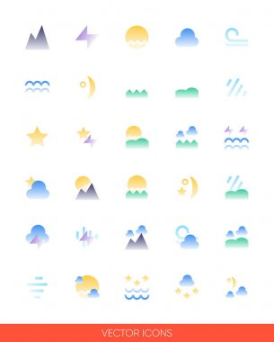 Weather icon set of color types. Isolated vector sign symbols.Icon pack. icon