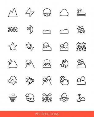 Weather icon set icon set of outline types. Isolated vector sign symbols.Icon pack. icon