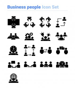 Business people icon set of black and white types. Isolated vector sign symbols.Icon pack. icon