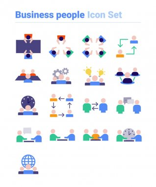 Business people icon set of color types. Isolated vector sign symbols.Icon pack. icon