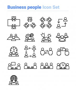 Business people icon set of outline types. Isolated vector sign symbols.Icon pack. icon