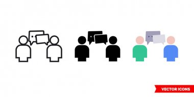 Communication icon of 3 types color, black and white, outline.Isolated vector sign symbol. icon