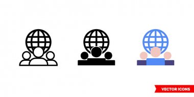 Connection icon of 3 types color, black and white, outline.Isolated vector sign symbol. icon