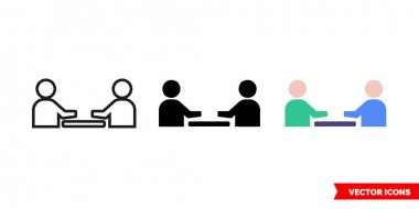 Meeting icon of 3 types color, black and white, outline.Isolated vector sign symbol. icon