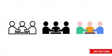 Presentation meeting icon of 3 types color, black and white, outline.Isolated vector sign symbol. icon
