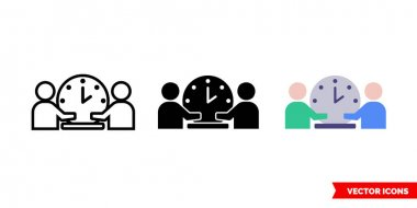 Time meeting icon of 3 types color, black and white, outline.Isolated vector sign symbol. icon