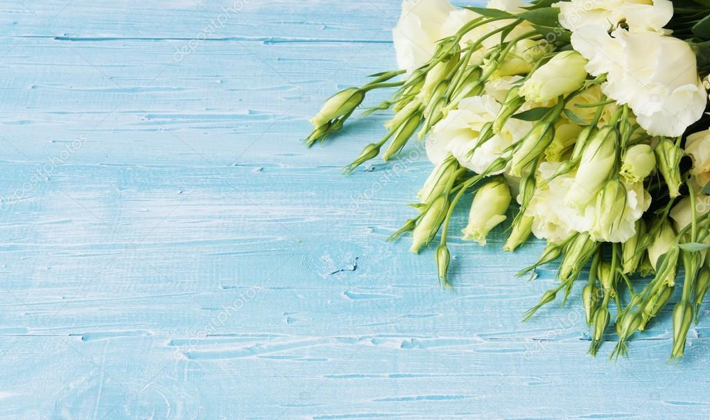 Weiße Blumen auf einem blauen Holzbrett liegend — Stockfoto ...