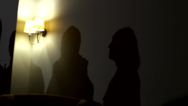 People dance in the club and their silhouettes are visible as shadows on the wall. The atmosphere of fun and joy
