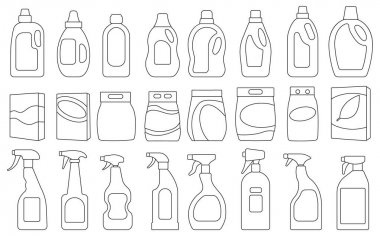 Detergent vector illustration on white background. Isolated outline set icon soap powder. Vector outline set icons detergent. icon