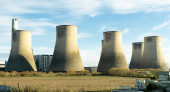 Dirty power station cooling towers
