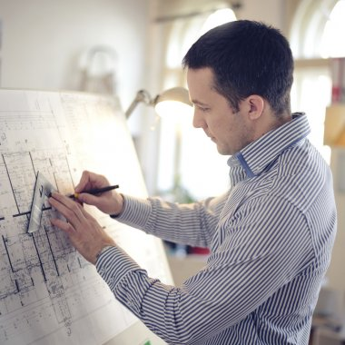 Architect in office