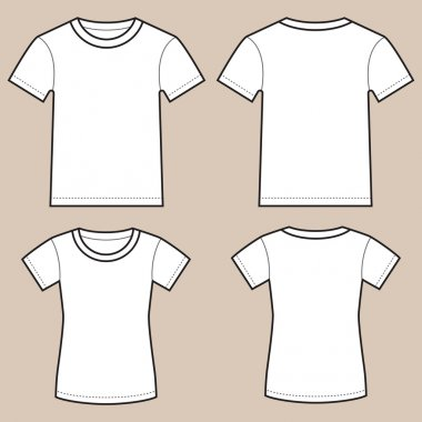 Set Of Blank Male And Female Shirts