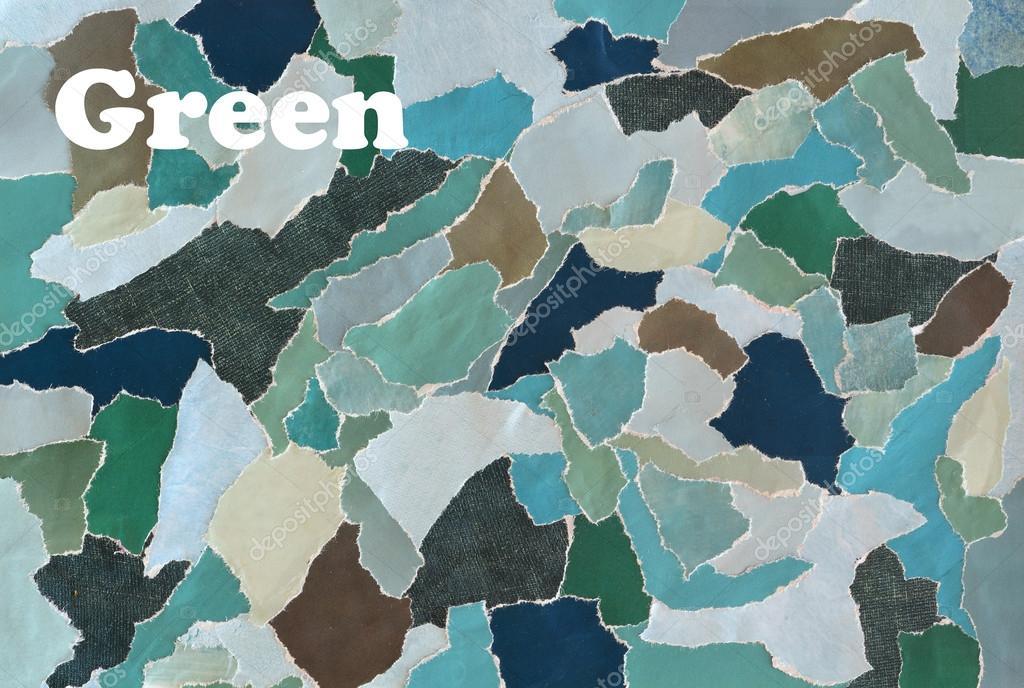 Creatieve sfeer kunst mood board collage blad in kleur idee groen
