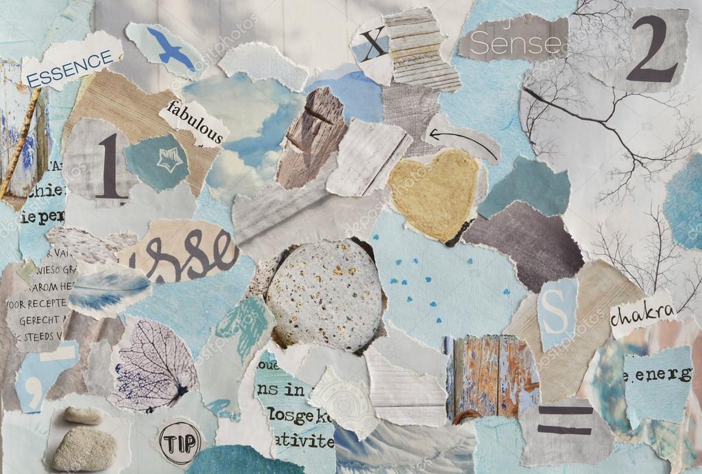 Serene zen creatieve sfeer kunst mood board collage blad in kleur