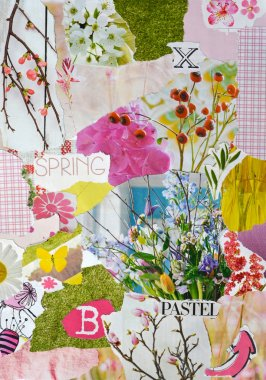 spring season Atmosphere color blue, pink,green, yellow and pastel mood board with teared magazine and printed matter  paper with flowers, heartshape, birds, letters, signs,colors and textures