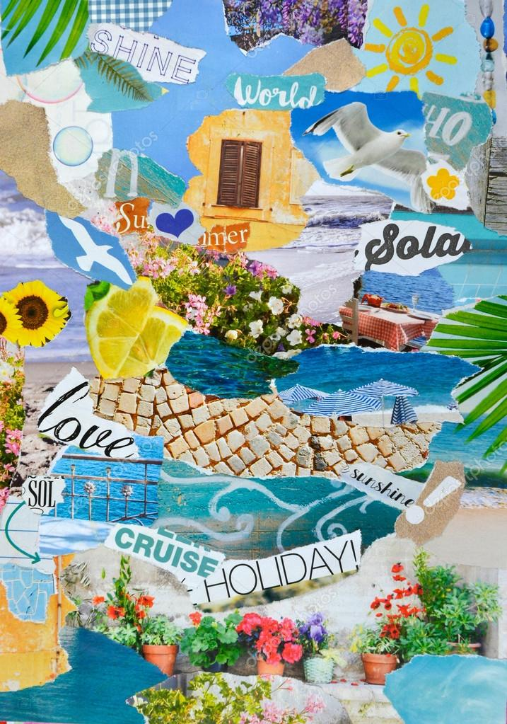 summer season Atmosphere mood board collage in color blue,green and yellow   made of  teared magazine and printed matter paper with flowers, beach, sea, terrace,letters, signs,colors and textures