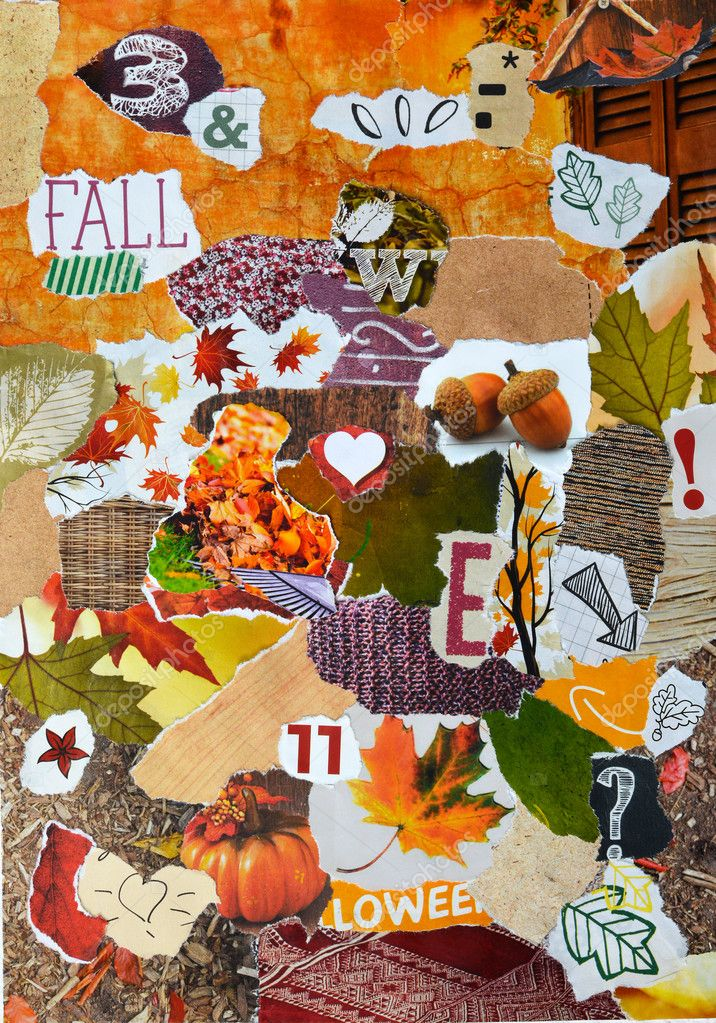 Fall, autmun season Atmosphere  mood board collage in color red, green, yellow, orange and brown made of teared magazine paper with leaves trees, letters, signs,colors and textures