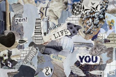 mood board ,collage atmosphere sheet  with natural elements with ice blue, white, black and gray, and blue with hearts , butterflies, flowers and books
