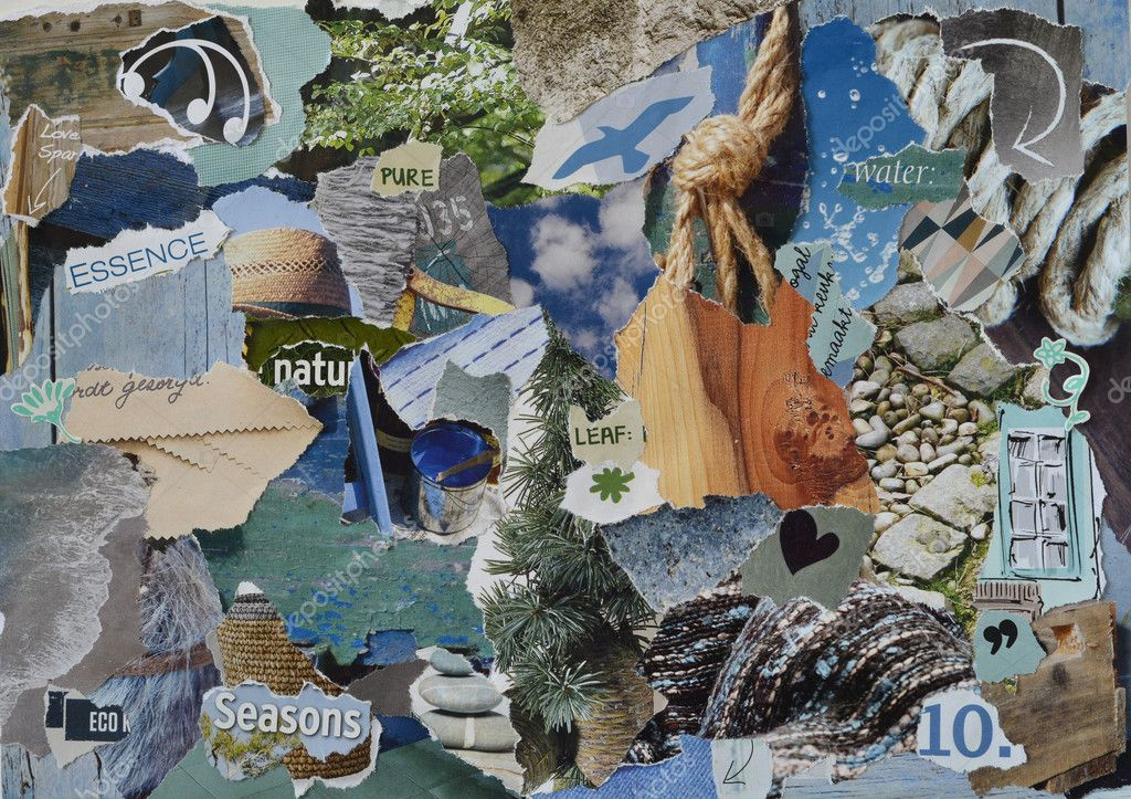 Atmosphere mood board collage sheet in color blue, grey and brown made of teared magazine paper with figures, letters, colors and textures, results in nature sea art
