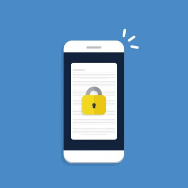 Secure confidential document on a smartphone, padlock on phone, online access with private lock, vector illustration. icon