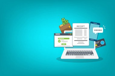 Laptop with a notification on financial transaction. Online payment concept. icon
